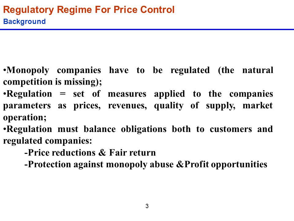 Regulatory Regime For Price Control
