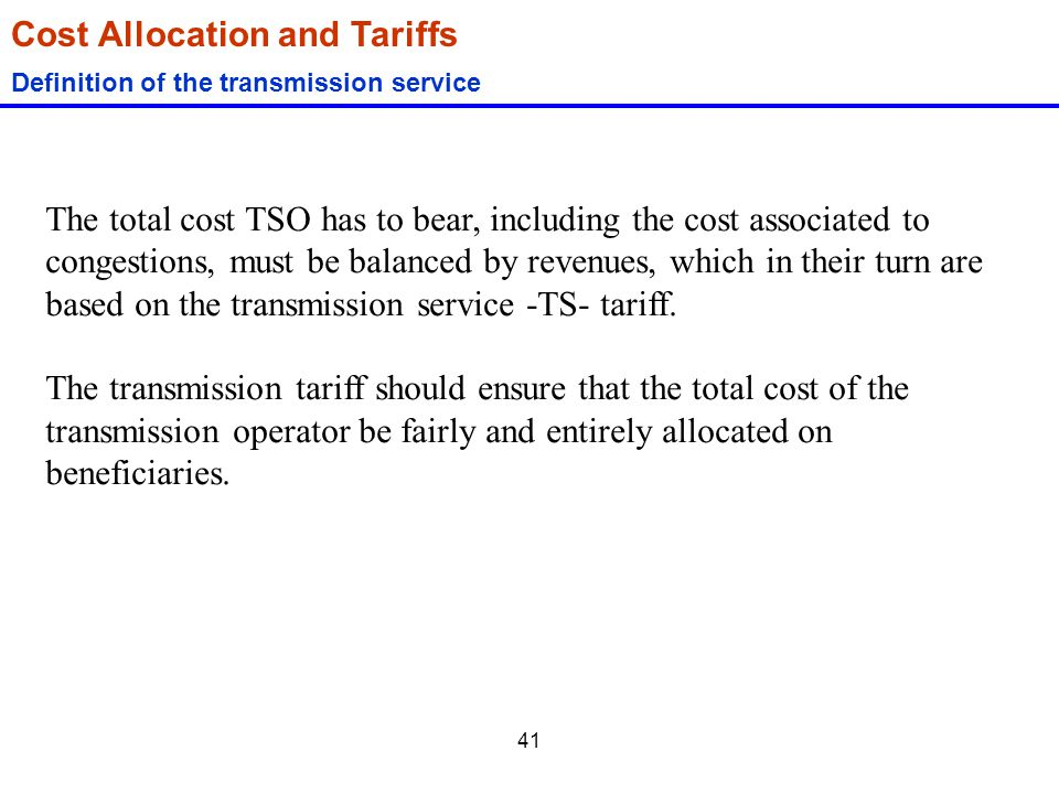 Cost Allocation and Tariffs