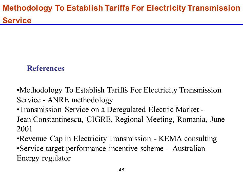 Methodology To Establish Tariffs For Electricity Transmission Service