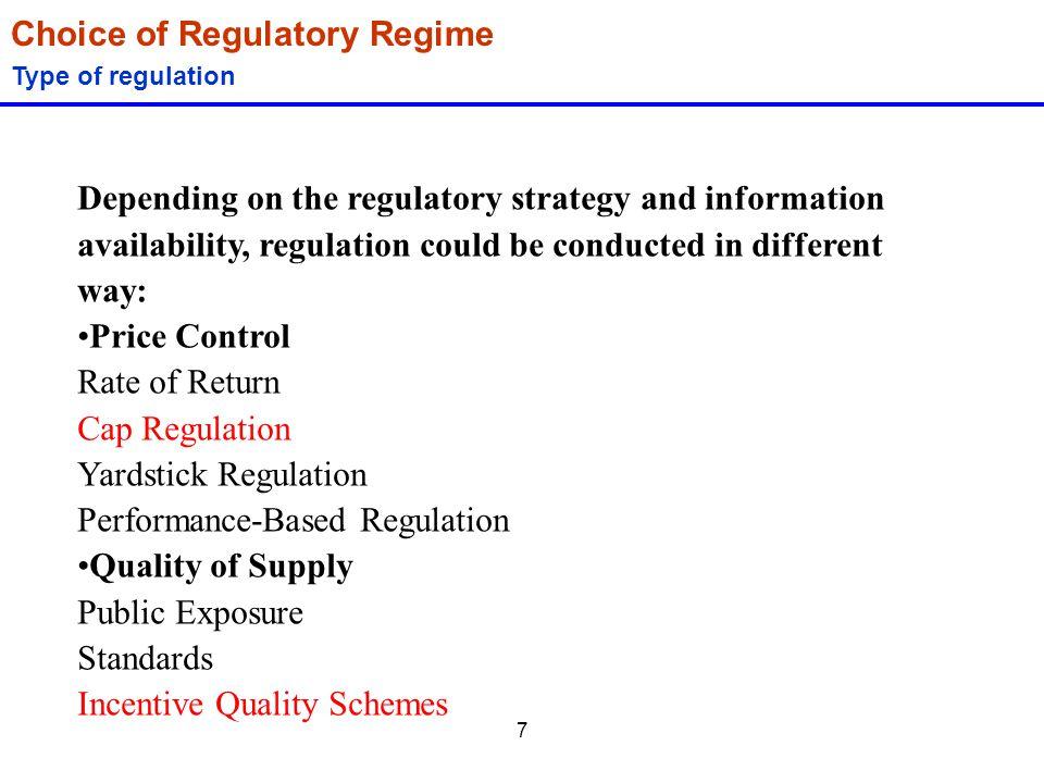 Choice of Regulatory Regime