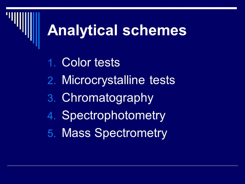 Analytical schemes Color tests Microcrystalline tests Chromatography