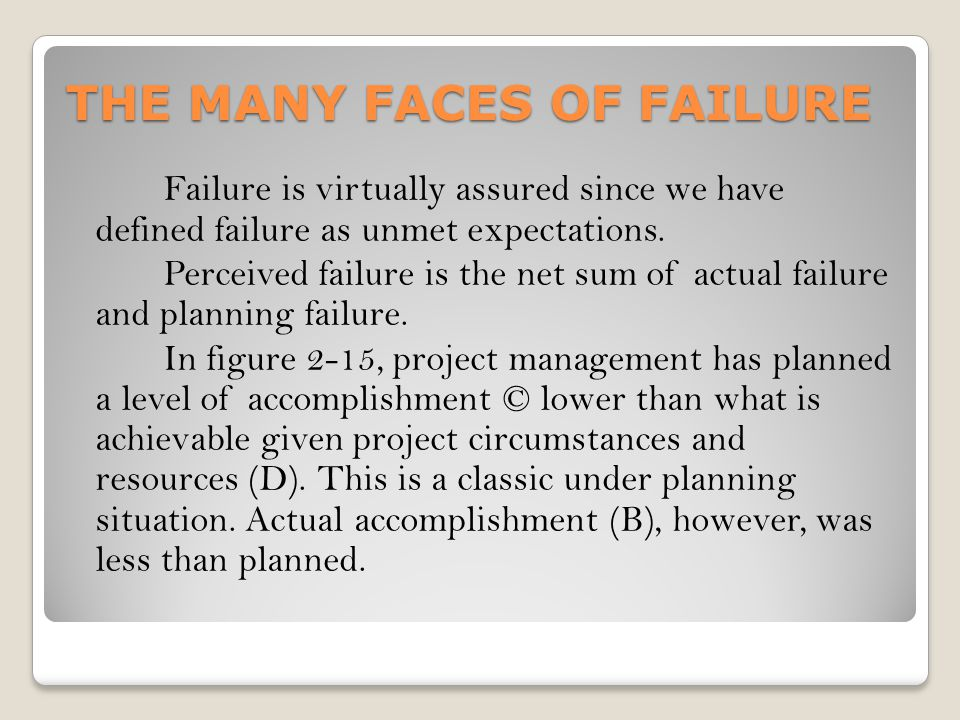 THE MANY FACES OF FAILURE