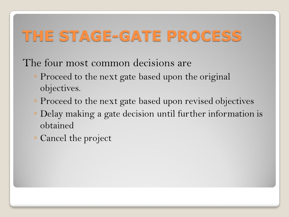 THE STAGE-GATE PROCESS