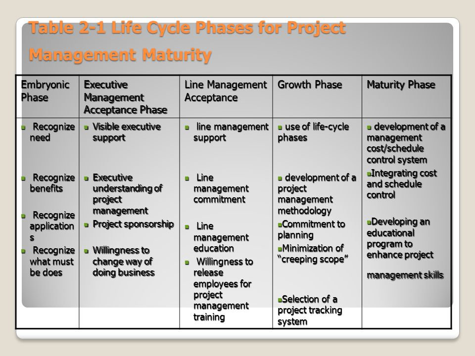 Table 2-1 Life Cycle Phases for Project Management Maturity