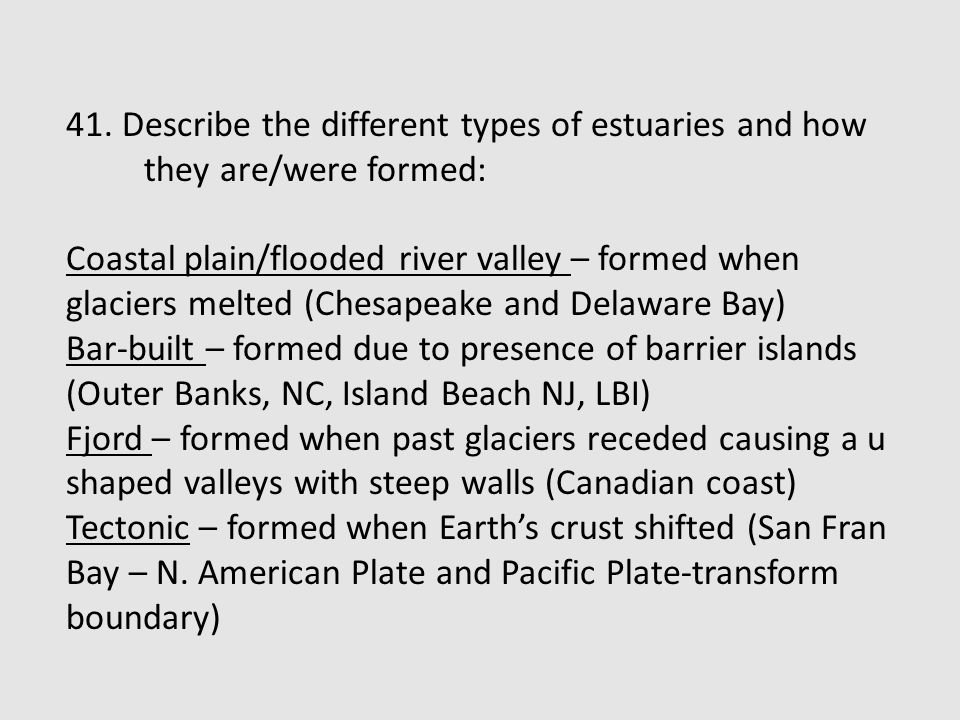 41. Describe the different types of estuaries and how they are/were formed:
