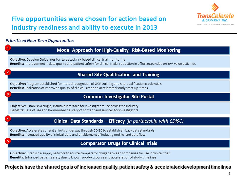 Five opportunities were chosen for action based on industry readiness and ability to execute in 2013