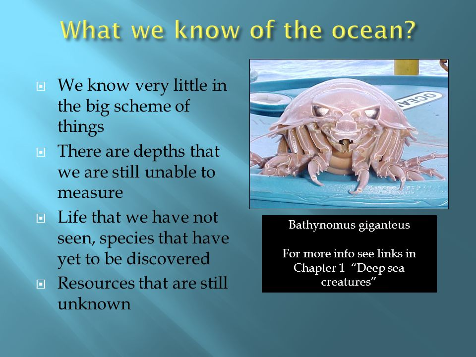 What we know of the ocean