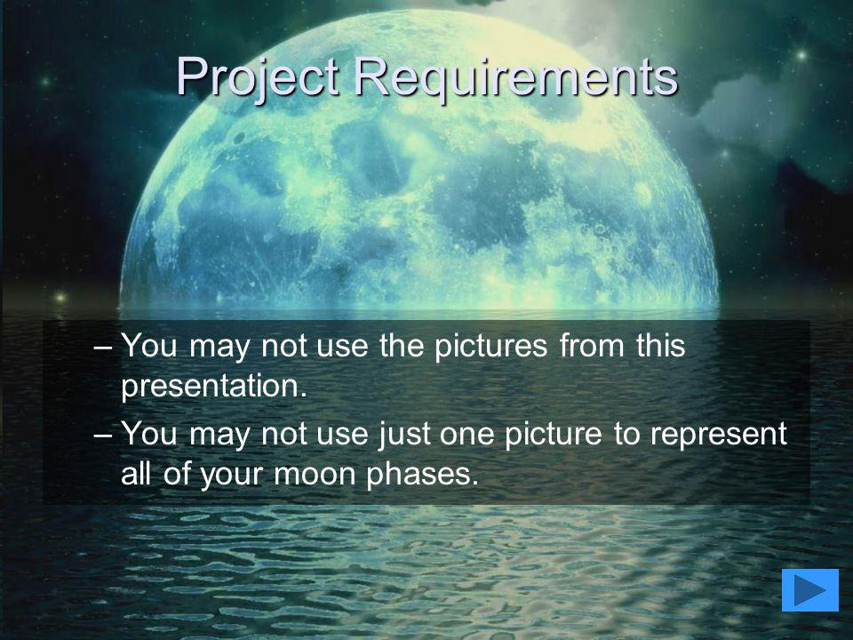 Project Requirements You may not use the pictures from this presentation.