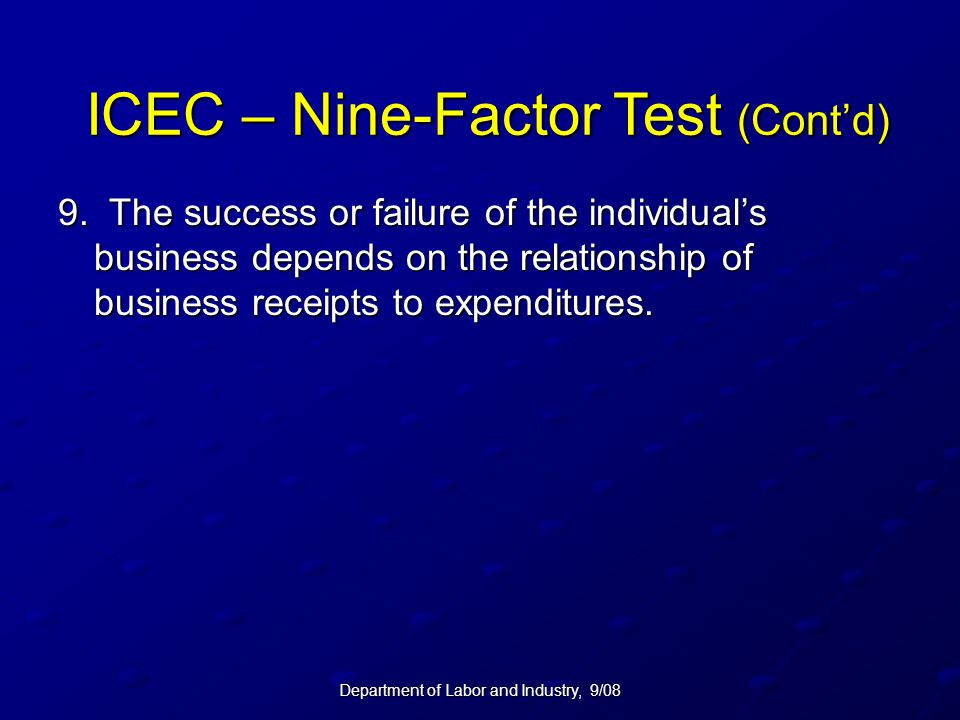 ICEC – Nine-Factor Test (Cont'd)