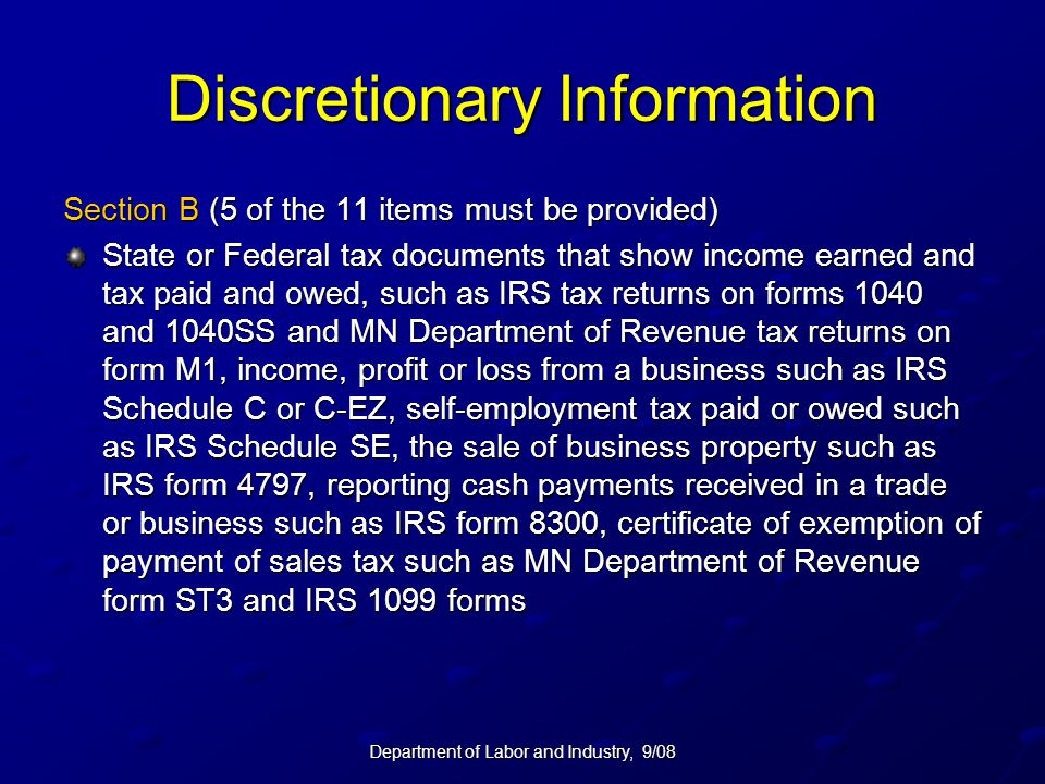 Discretionary Information