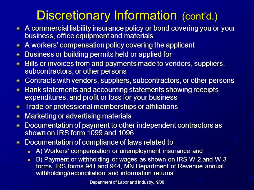 Discretionary Information (cont'd.)