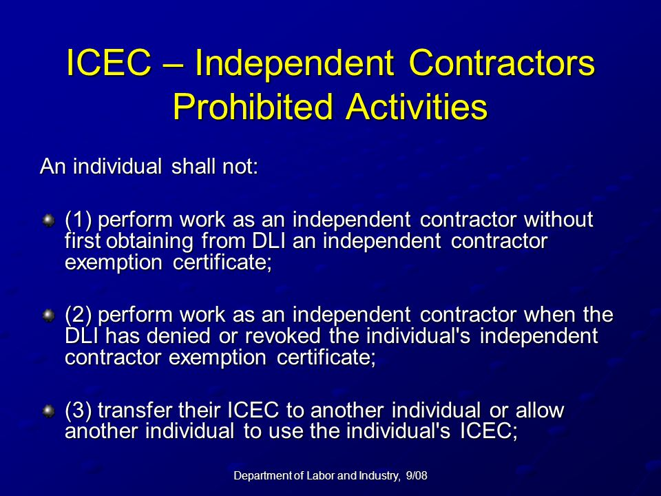 ICEC – Independent Contractors Prohibited Activities