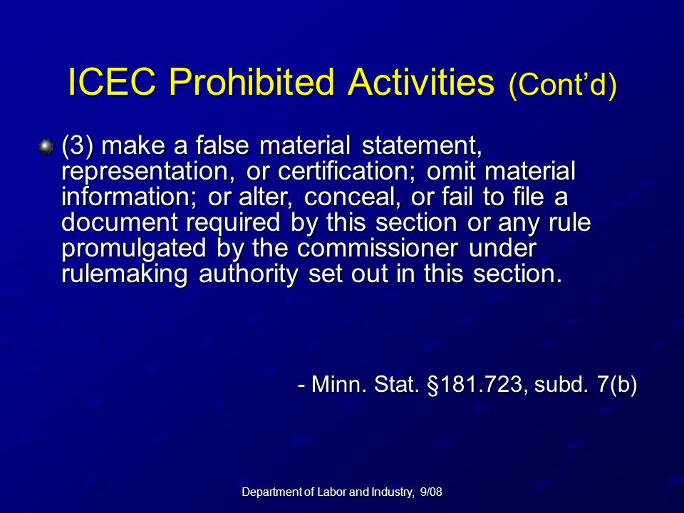 ICEC Prohibited Activities (Cont'd)