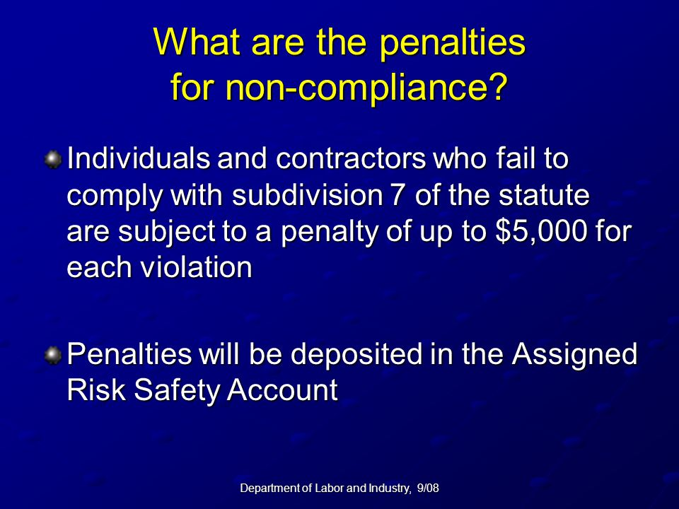 What are the penalties for non-compliance