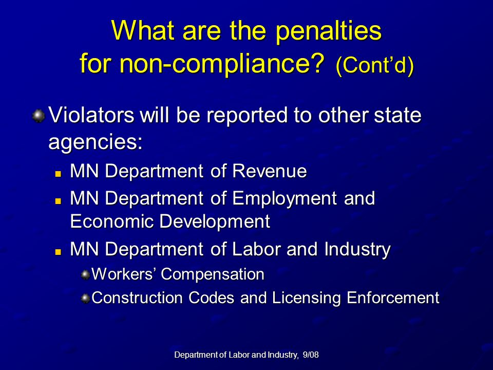 What are the penalties for non-compliance (Cont'd)