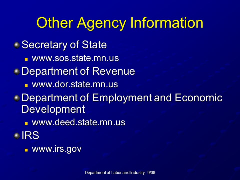 Other Agency Information