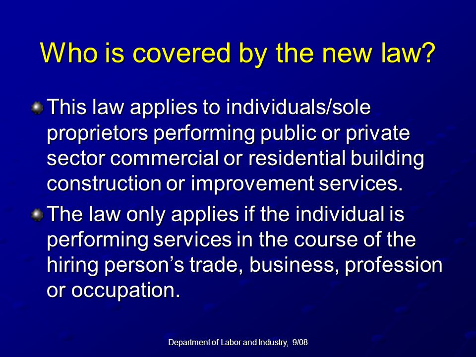 Who is covered by the new law