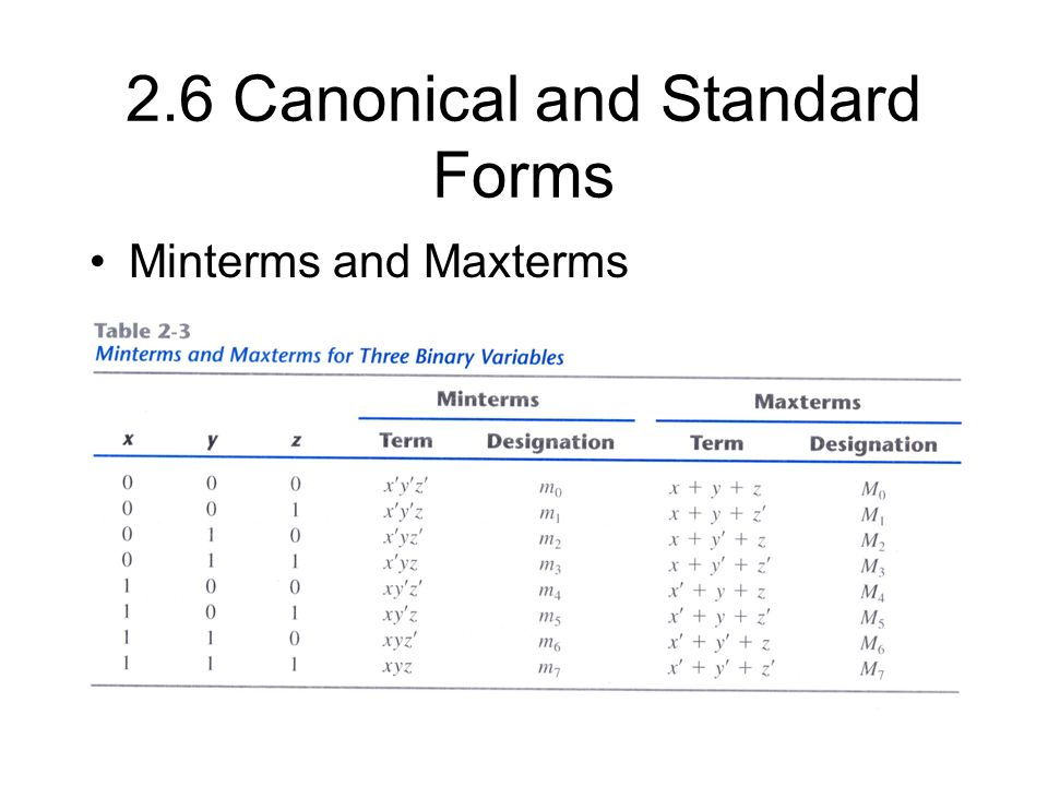 2.6 Canonical and Standard Forms