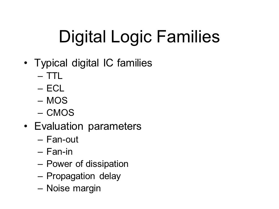 Digital Logic Families