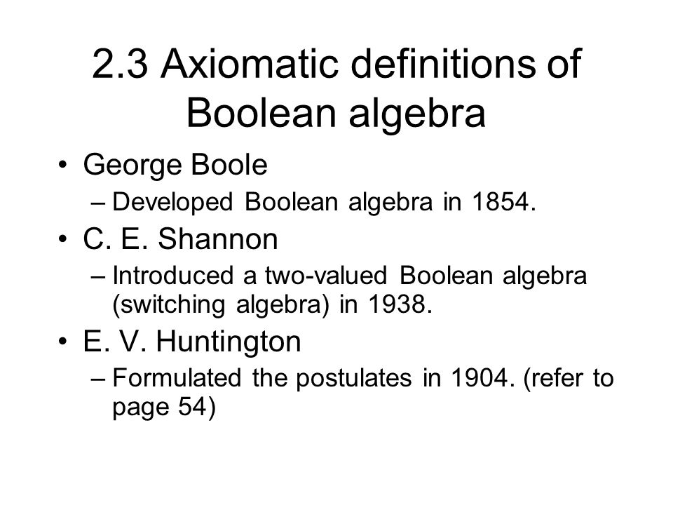 2.3 Axiomatic definitions of Boolean algebra