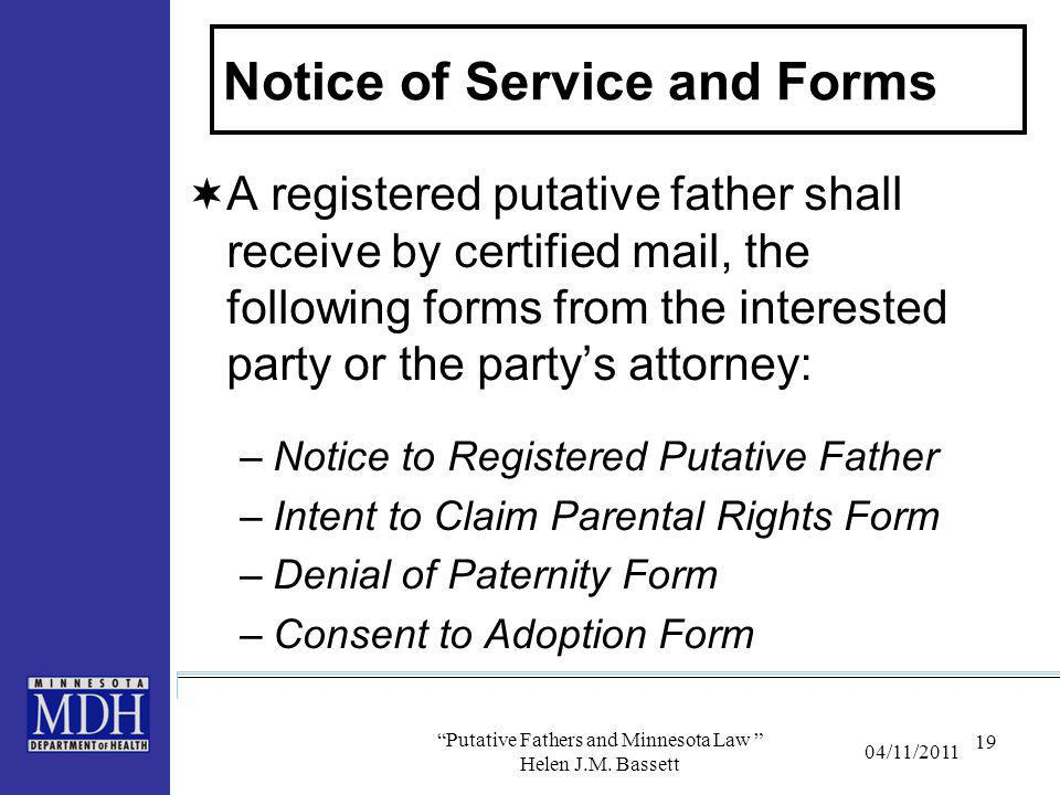 Notice of Service and Forms