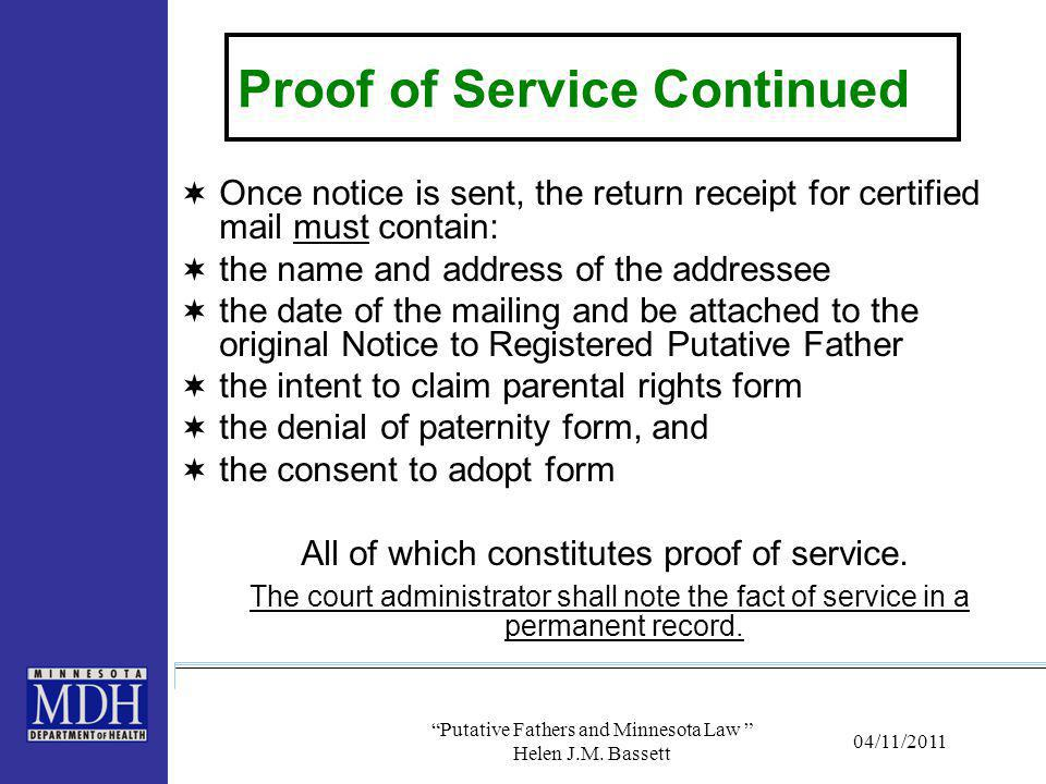 Proof of Service Continued