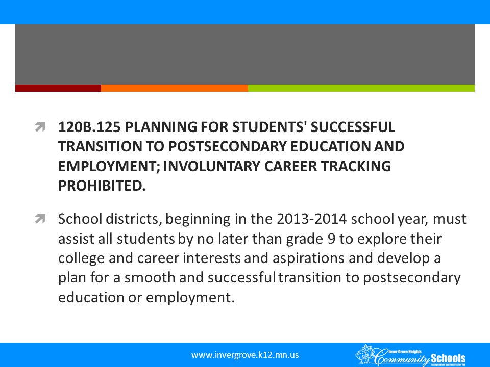 120B.125 PLANNING FOR STUDENTS SUCCESSFUL TRANSITION TO POSTSECONDARY EDUCATION AND EMPLOYMENT; INVOLUNTARY CAREER TRACKING PROHIBITED.