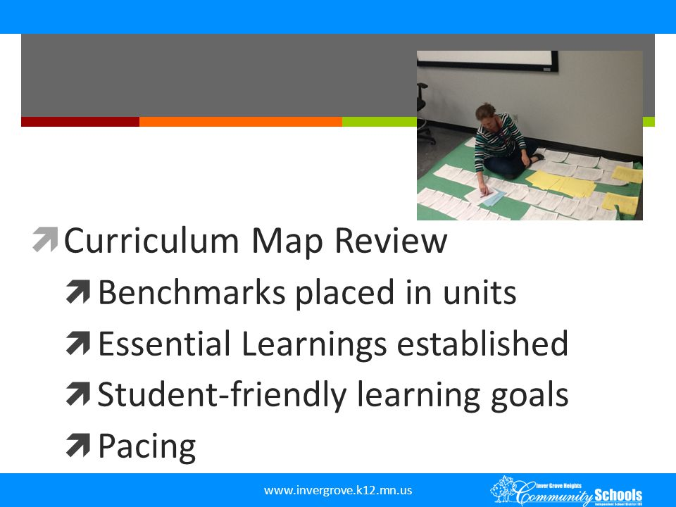 Curriculum Map Review Benchmarks placed in units