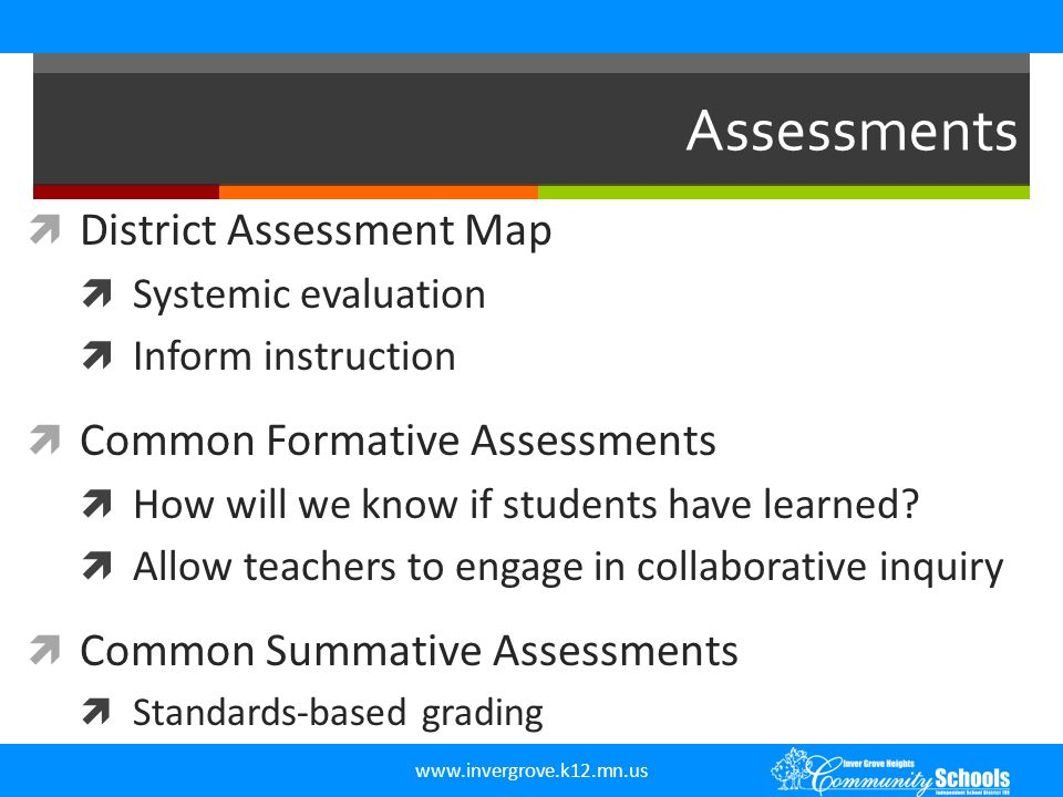 Assessments District Assessment Map Common Formative Assessments