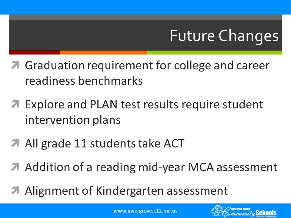 Future Changes Graduation requirement for college and career readiness benchmarks.