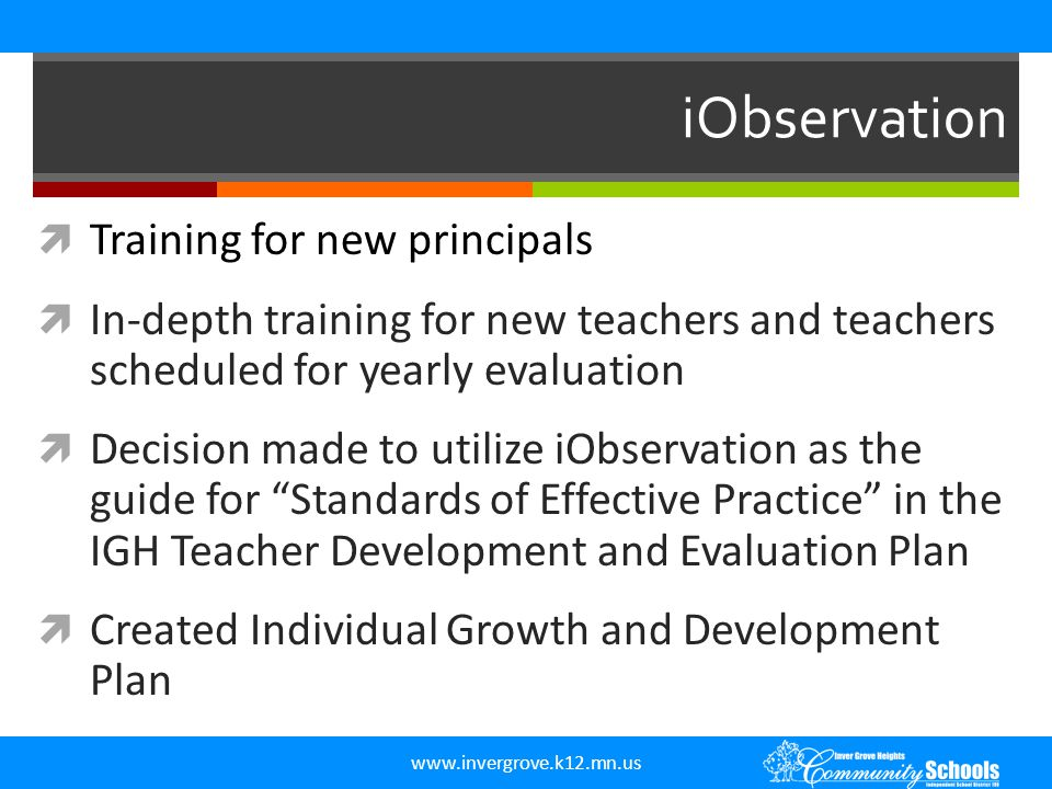 iObservation Training for new principals