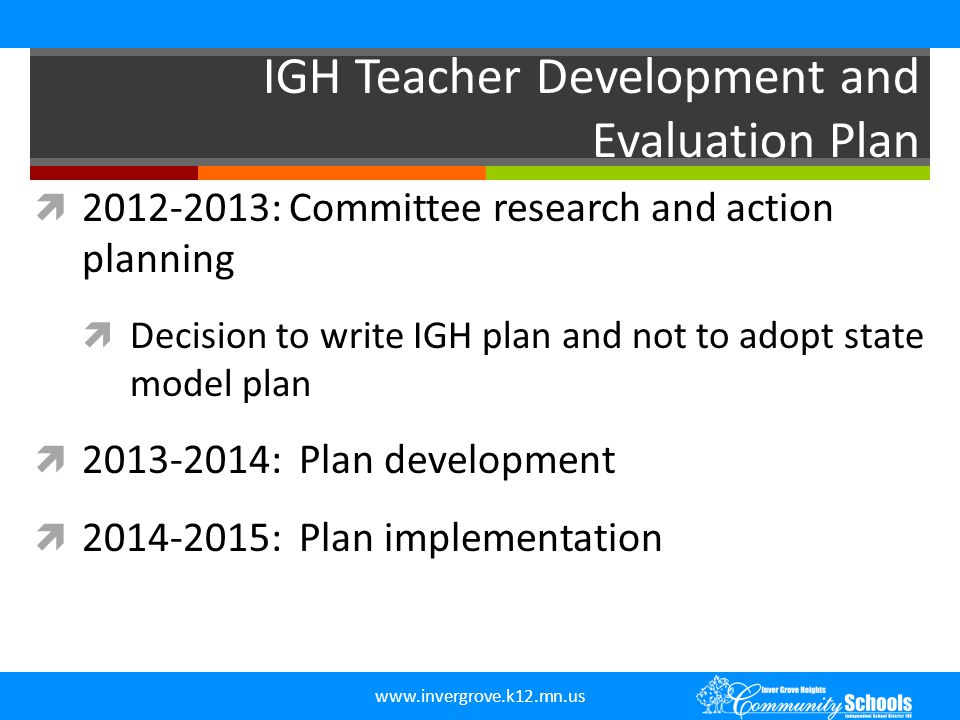 IGH Teacher Development and Evaluation Plan