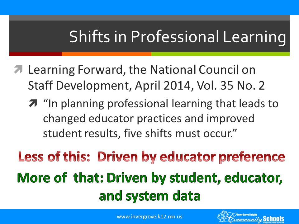 Shifts in Professional Learning
