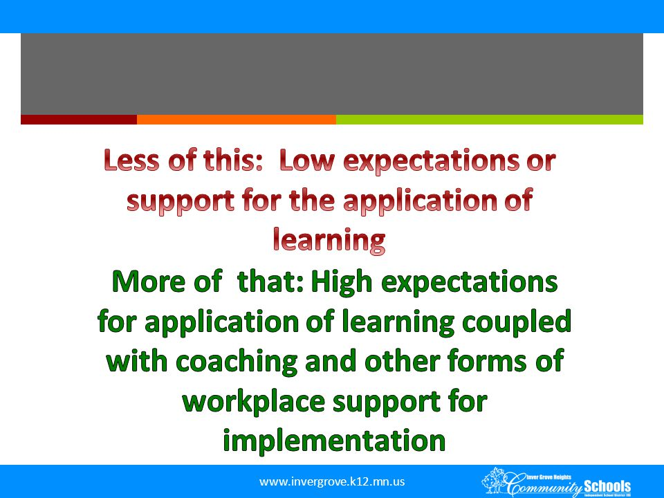 Less of this: Low expectations or support for the application of learning