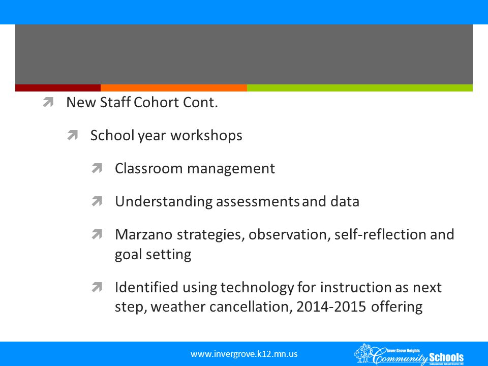 New Staff Cohort Cont. School year workshops. Classroom management. Understanding assessments and data.