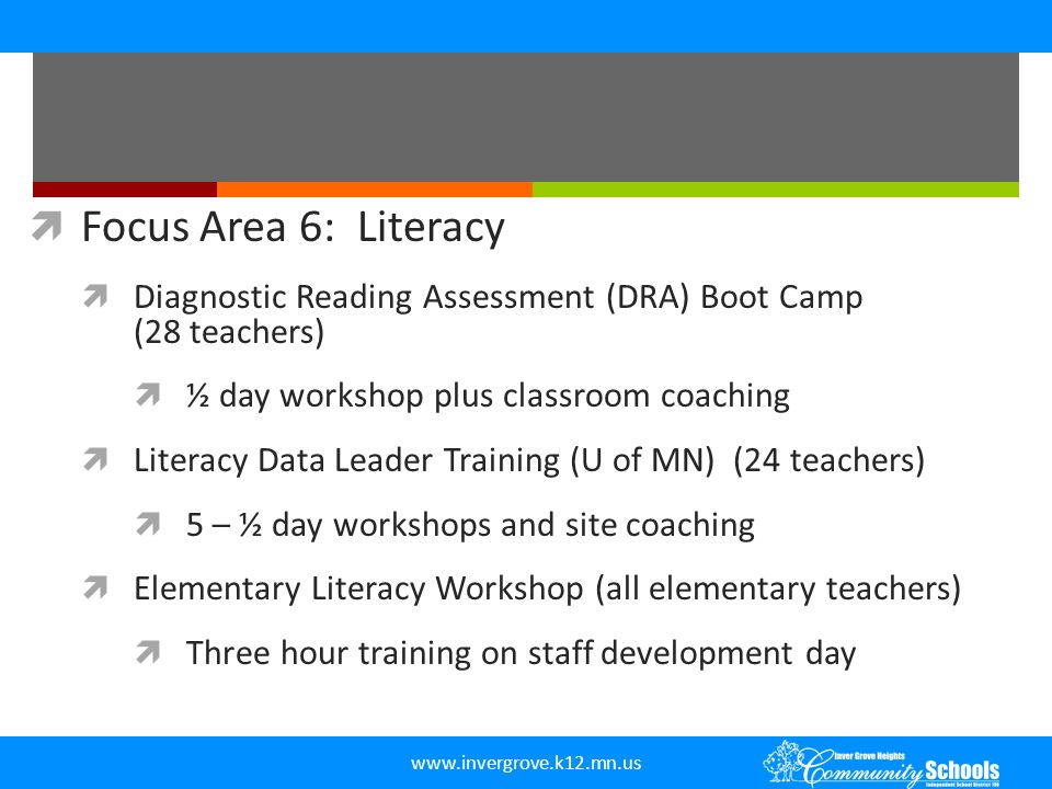 Focus Area 6: Literacy Diagnostic Reading Assessment (DRA) Boot Camp (28 teachers)