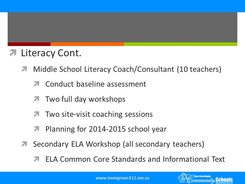 Literacy Cont. Middle School Literacy Coach/Consultant (10 teachers)