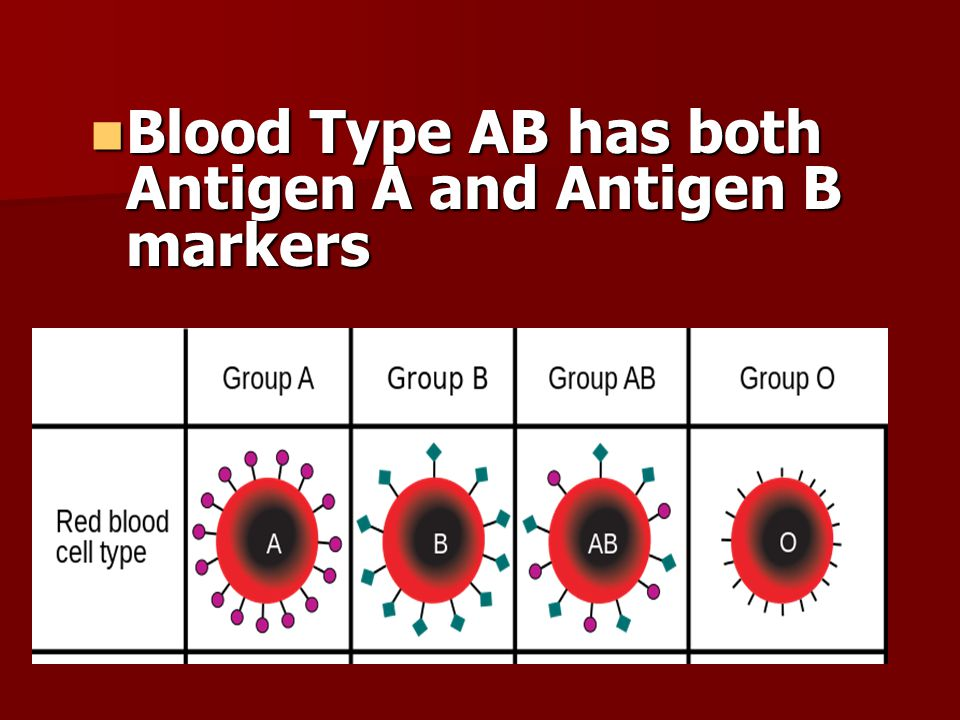 Blood Type AB has both Antigen A and Antigen B markers