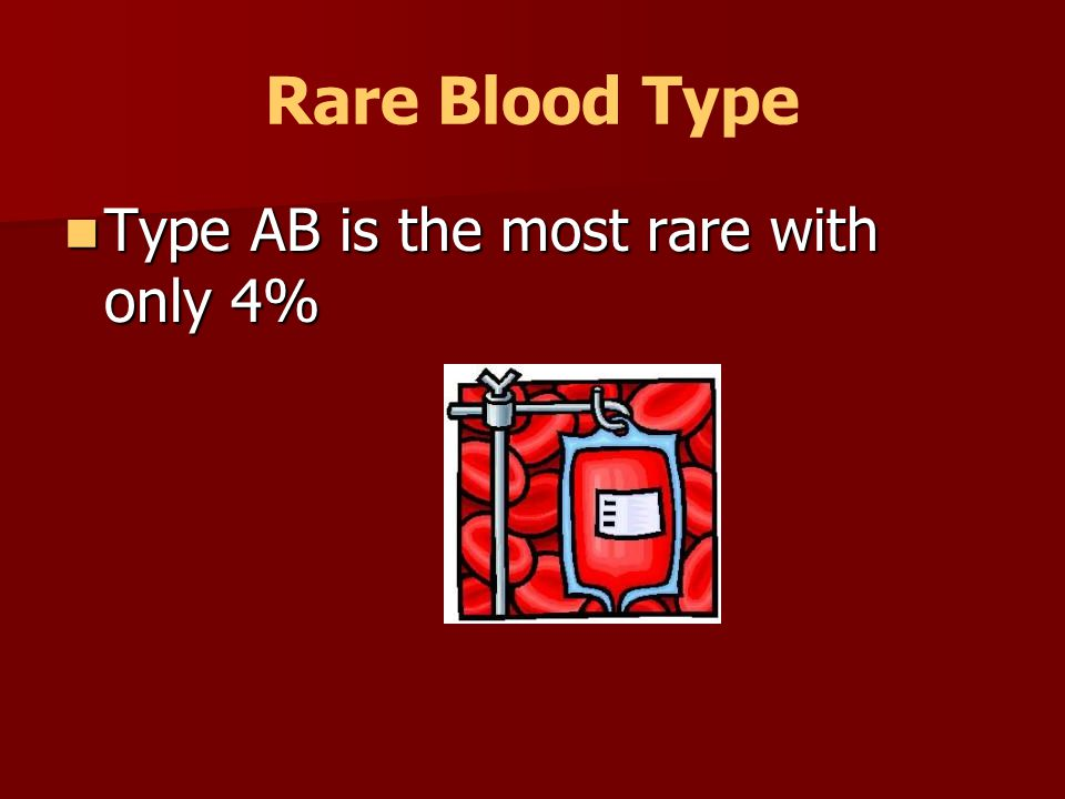 Rare Blood Type Type AB is the most rare with only 4%