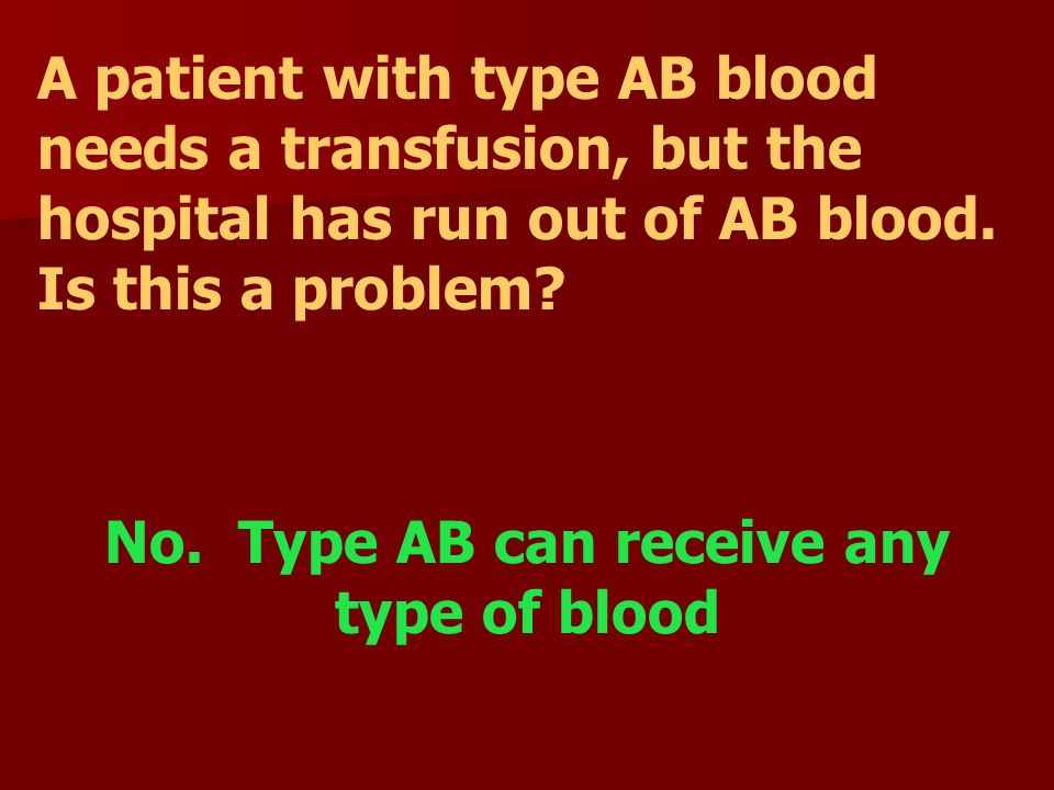 No. Type AB can receive any type of blood