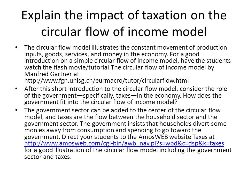 Explain the impact of taxation on the circular flow of income model