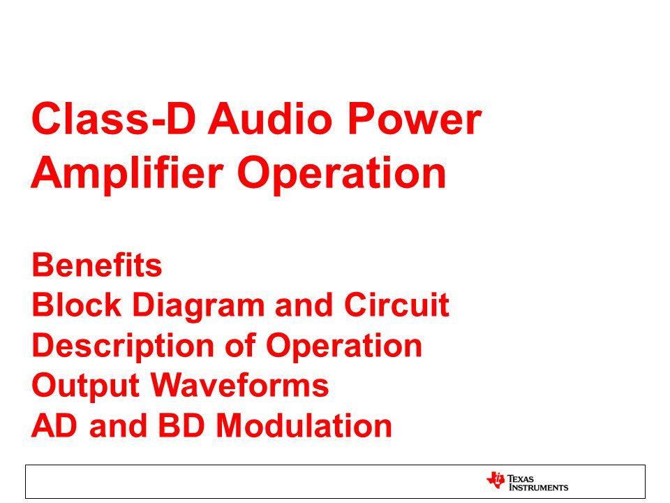 Class-D Audio Power Amplifier Operation