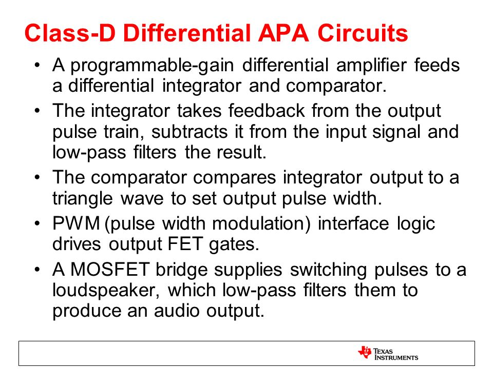 Class-D Differential APA Circuits