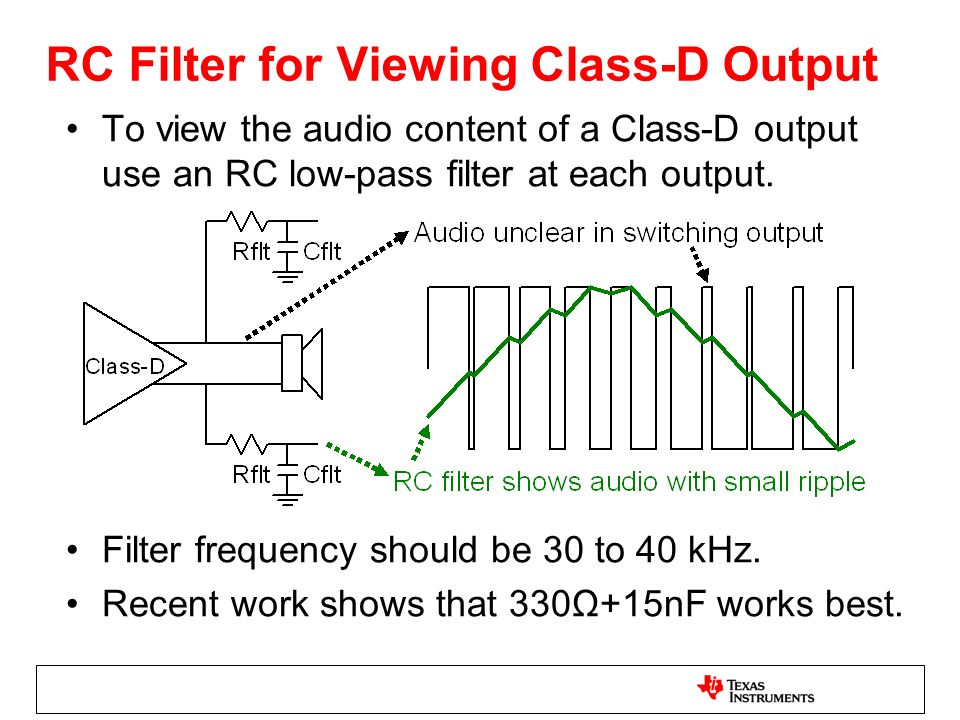 RC Filter for Viewing Class-D Output