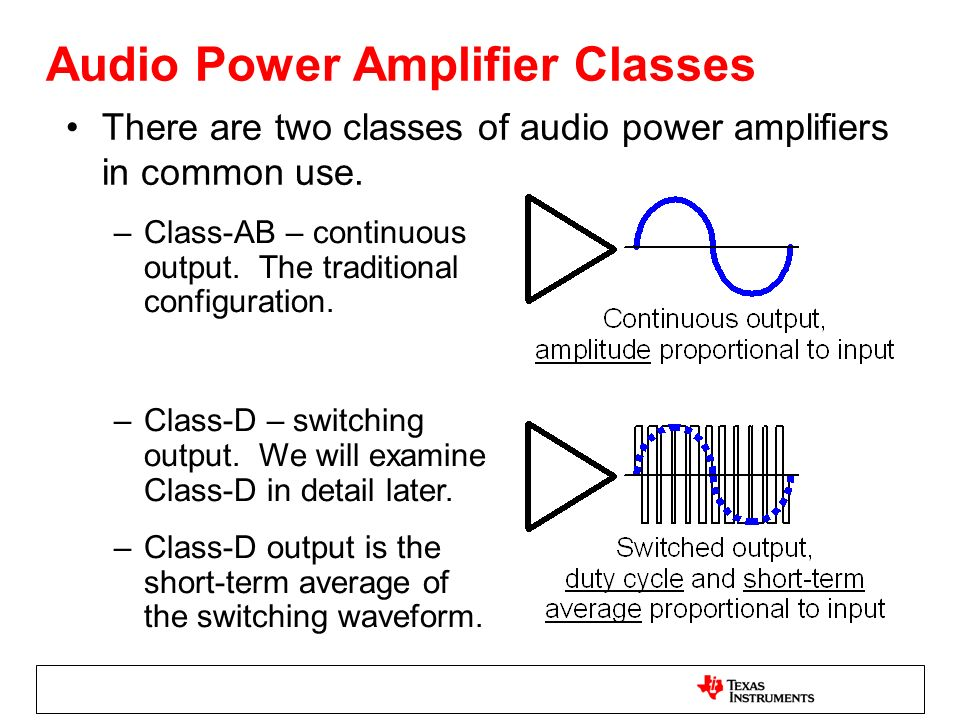 Audio Power Amplifier Classes