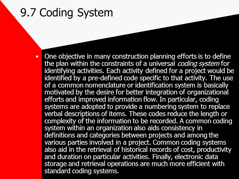 9.7 Coding System