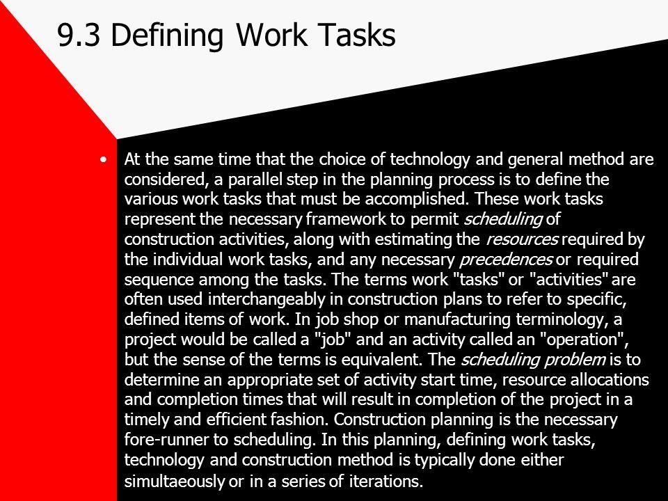 9.3 Defining Work Tasks