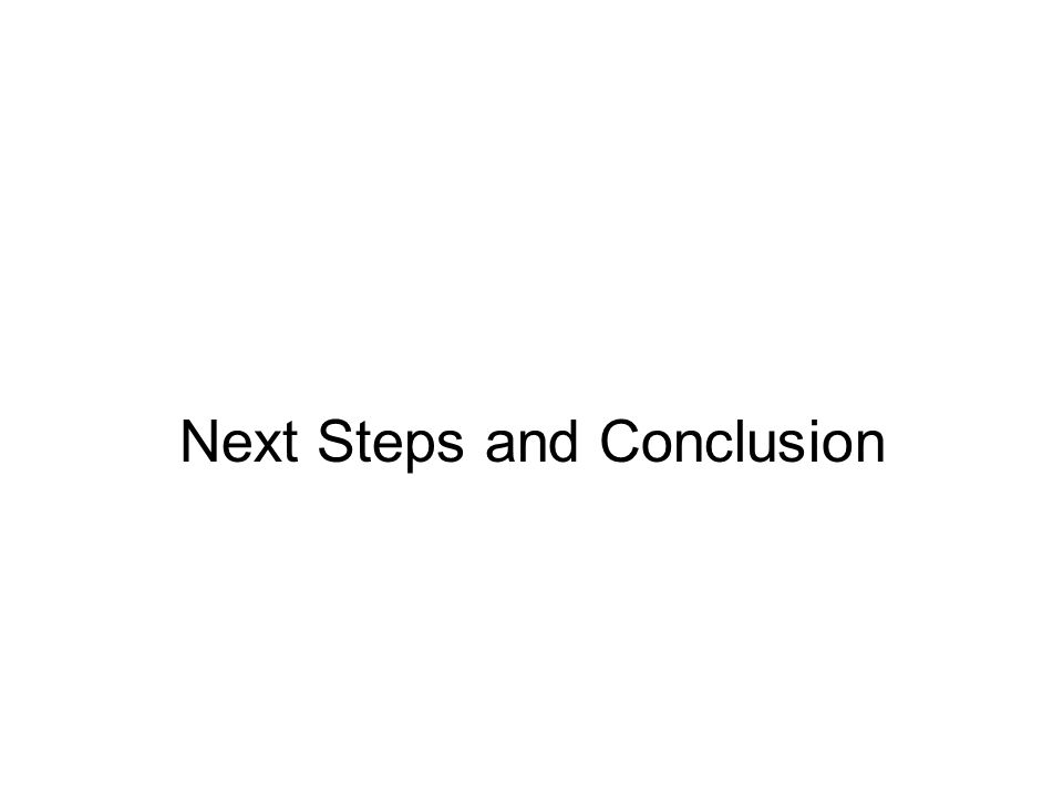 Next Steps and Conclusion