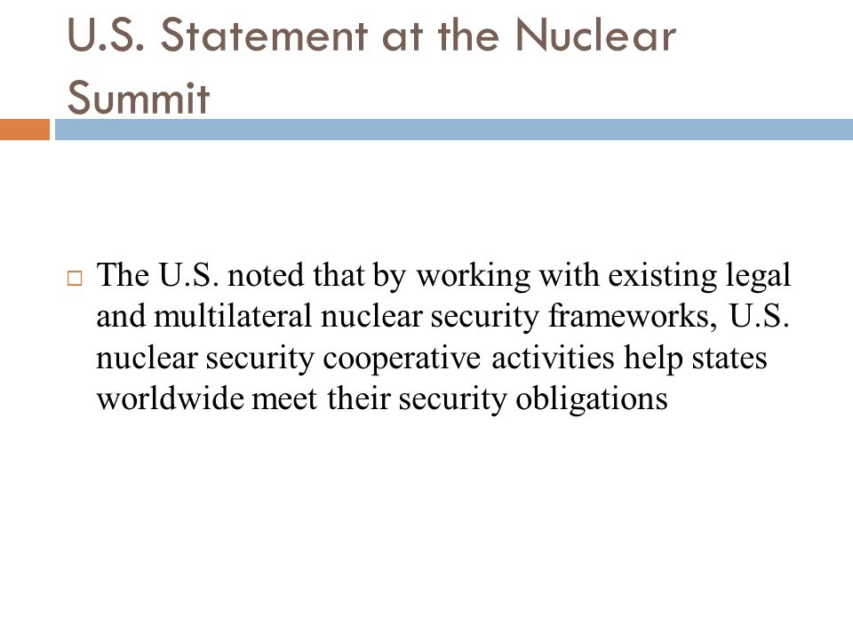 U.S. Statement at the Nuclear Summit
