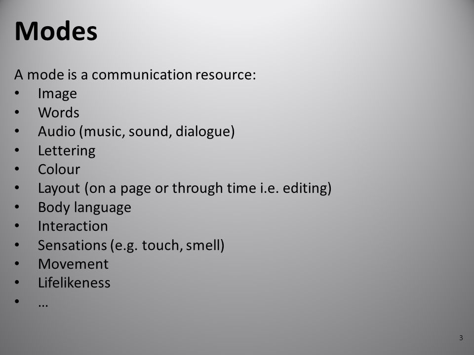 Modes A mode is a communication resource: Image Words